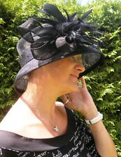 Sombrero Mujer Negro LUTO Sombrero Para Eventos Boda Elegante Festivo Sisal paja
