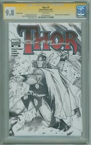 Thor # 1 CGC SS 9.8 NM/MT Sketch Variant 2007 Signed by Olivier Coipel
