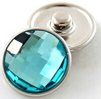 Light Blue Faceted Crystal Chunk 20mm Interchangeable Jewelry Fits Ginger Snaps