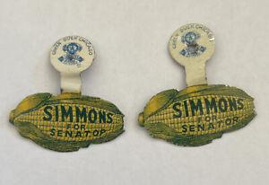 2 Vintage Tin Simmon For Senator Corn Shaped Pin Badge Green Duck Chicago T48