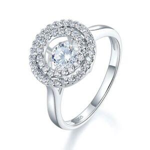 Double Halo Engagement Wedding Ring 0.50 CT Round Diamond 14K White Gold Finish