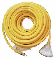 50' 10/3 Lighted Heavy Duty 3 Outlet SJTW Extension Cord - 10 Awg 3C 50ft In/Out