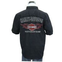 Harley Davidson Motorcycles Black Button Down Shirt Size Large Mens Embroidered