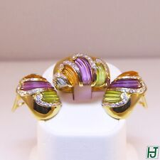 New Amethyst, Peridot, Topaz with Diamonds Earrings & Ring Set, 18k Yellow Gold
