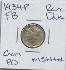 1934-P Mercury Dime Rare Date Uncirculated Us Mint Pq Silver Coin Gem Fb Ms+
