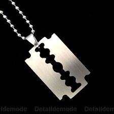 Chaine Homme + Pendentif lame de rasoir (plaque militaire collier man necklace)