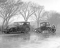 Historical Photograph Snow Scene Car Accident 1921Washington DC   8x10