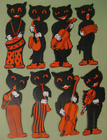 1940s Beistle Complete Set of 8 Black Cat Embossed Musicians wi Original Package