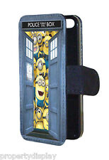 Minions inside Dr Who Tardis Funny Design Flip Wallet Mobile Phone Case Cover