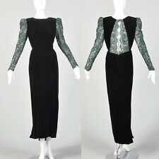 M Victor Costa Green Dress 1980s Emerald Velvet Long Sleeve Prom Gown 80s VTG