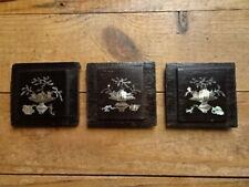 3 PETITS PANNEAUX. BOIS ET MARQUETERIE DE NACRE.Extrème-orient,Tonkin,Chine.XIX°