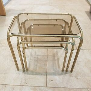 Vintage Metal Gold Smoked Grey Glass Nesting Nest Tables X 3 Hollywood retro