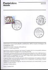 ITALIA 2010 SCUOLA ENOLOGICA BOLLETTINO COMPLETO DI FRANCOBOLLI ANNULLO FDC