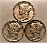 1942 PDS  Set of three Mercury Dimes circulated 90% Silver XF + Extra Fine Plus