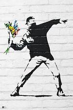 Banksy Flower Bomber Figurative Illustration Print Poster