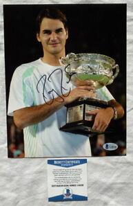 Roger Federer signed 8x10 tennis photo Australian Open Beckett BAS