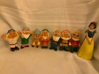 Full Set Snow White And The Seven Dwarfs Figures Vintage 1960s Rotatable Squishy