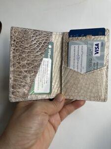 Crocodile Leather Credit Card Holder DOUBLE SIDE Genuine Alligator White