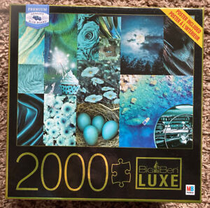 Milton Bradley Luxe Blue Board: TEALS 2000 Piece Jigsaw Puzzle New Sealed