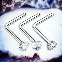 SWEETIE Cute Nose Stud Crystal Nose Piercing L Nose Ring Heart Star Studs Hoop