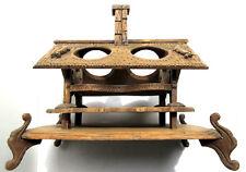 Liquor cabinet, cabaret wood carved Black Forest: Chalet for 4 carafes & glasses