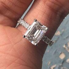 3.45CT Certified White Emerald Cut Diamond Bold & Beauty Wedding Ring 14K Gold