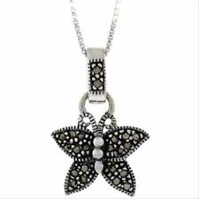 """Stearling Silver Marcasite Butterfly Pendant, 18"""""""