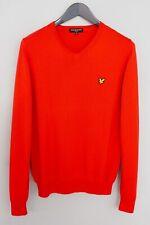 Men Lyle & Scott Vintage Jumper Cotton Red V Neck M XMN886