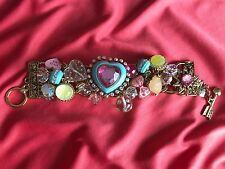 Betsey Johnson Candyland Aqua Blue Candy Heart Hug Me Lucite Pink Bow Bracelet