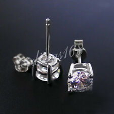 925 Sterling Silver 2mm Pretty Round Cubic Zirconia CZ Stud Post Earrings H320