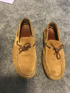 Mens Suede Leather Moccasins Driver Shoes Loafers Slip On 45 Tan
