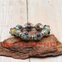 Chinese Hand Engraving Exquisite White Copper Beads Bracelet Mosaic Jade Bangle