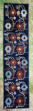 """Vintage Tibetan Multi Color Floral Motif Rug Runner 150"""" x 28"""" Blue Ground (Sug)"""