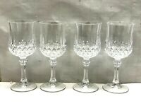 LOT Set 4 Cristal d'Arques Crystal Wine Glass French Longchamp cordials 12 Avail