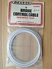 BELVIN WHITE REAR PEAR NIPPLE BRAKE CABLE WITH FERRULE HANDY RARE RETRO SPARES