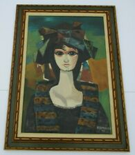 LARGE VINTAGE MODERNISM  OIL PAINTING PORTRAIT 1970'S EXPRESSIONISM BIG EYE GIRL