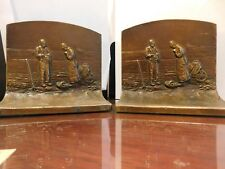 K & O Co. Bronze Vintage Bookends Farming Fields Wheat Praying - Large Heavy