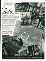 Publicité ancienne voyage en Italie automobile 1935 issue de magazine