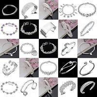 Women Jewelry Cuff Bangle 925 Silver Crystal Charm Chain Wristband  Bracelet