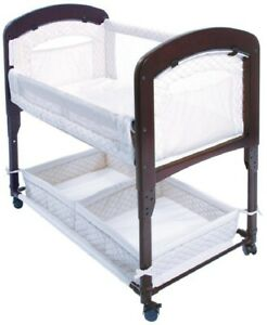 Arm's Reach Cambria Baby Co-Sleeper Bedside Bassinet White/Espresso NEW