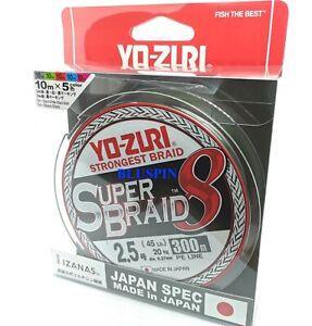Yo-Zuri Super Braid 8 Strongest Braid 2.5 45lb  0.27mm 300mt Multicolor Japan