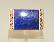 VTG 14K YELLOW GOLD RECTANGULAR LAPIS RING WITH 8 TINY ACCENT DIAMONDS SIZE 4.75