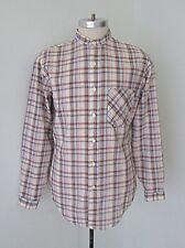 VGC Vtg 70s 80s Brown Yellow Plaid Polycotton Banded Collar Shirt Pocket Slim M