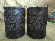 Outdoor Solar Carriage Lantern Flower Pattern Set of Two