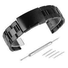 Black Silver Brushed&Polished Stainless Steel Link Watch Band Kit Strap Bracelet