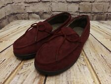 Mens Deep Red Faux Suede Moccasin Style Memory Foam Insole Slippers