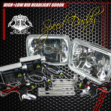 7X6 H6054 CLEAR CHROME SQUARE DIAMOND CAR LIGHTING HEADLIGHTS W/H4 6000K HID