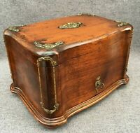 Large antique french Napoleon III cigar cellar box 19th century wood bronze 5lb