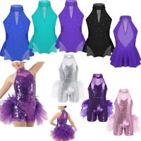 Kids Girls Ballet Dance Tutu Dress Gymnastics Leotard Backless Dancewear Costume