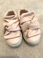 Girls Primark Pink Pumps Slip On Bow Shoes Trainers Flats Infant Size 6. Used.